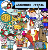 Christmas Around The World: France Clip Art- Color/ black&