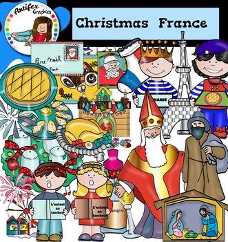 Christmas Around The World: France Clip Art- Color/ black&