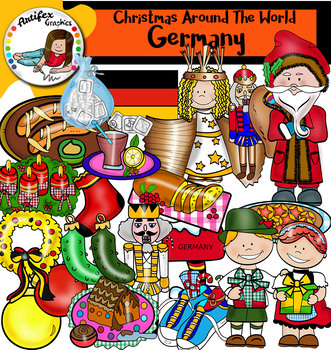 Christmas Around The World: Germany Clip Art- Color/ black&white-37 items!
