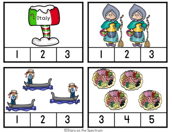 Christmas Around The World Italy-Christmas Around The World Counting Clip Cards