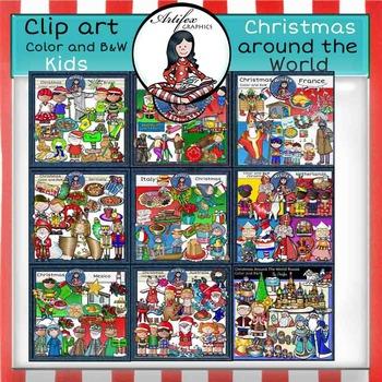 Christmas Around The World-Kids- Color/ black&white FREE!