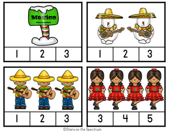 Christmas Around The World Mexico-Christmas Around The World Counting Clip Cards