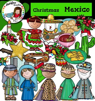 Christmas Around The World: Mexico Clip Art- Color/ black&white-44 items!
