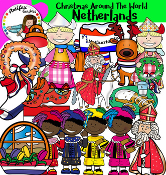 Christmas Around The World: Netherlands Clip Art- Color/ black&white-32 items!
