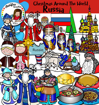 Christmas Around The World: Russia Clip Art- Color/ black&white- 33 items!