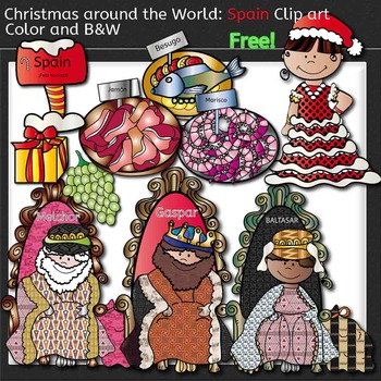 Christmas Around The World: Spain Clip Art- Color/ black&white!