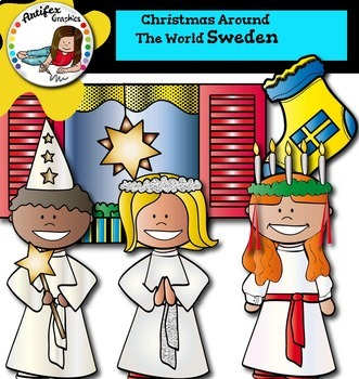 Christmas Around The World: Sweden Clip Art- Color/ black&white-42 items!