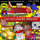 Christmas Around The World: USA Clip art. 500 followers Freebie!!