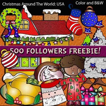Christmas Around The World: USA Clip art. 500 followers Freebie!!