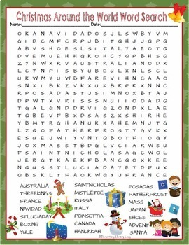 Christmas In Italy Crossword.Christmas Around The World Activities Holiday Crossword Puzzle Word Searches