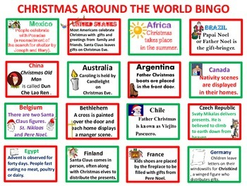 Christmas Around the World Bingo
