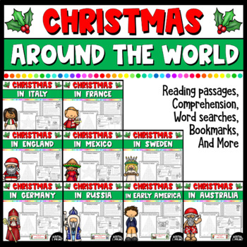 Christmas Around the World Bundle- Reading passages, Activities, & Bookmarks!