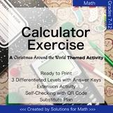 Christmas Around the World Calculator Math Activity High School