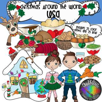 Christmas Around the World Clip Art Bundle 1 - Chalkstar Graphics