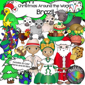 Christmas Around the World Clip Art Bundle 2 - Chalkstar Graphics