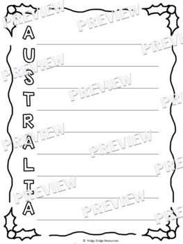 Christmas Around the World Coloring Pages and Acrostic Poem Writing Template