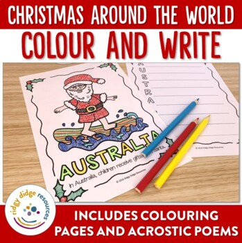 Christmas Around the World Coloring Pages and Acrostic Poem Writing ...