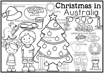 Christmas Around the World Coloring Pages and Vocabulary Posters
