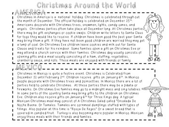 Christmas Around the World Compare and Contrast Activity ( America and Mexico