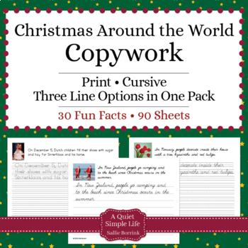 Christmas Around the World - Cursive - Copywork -  Handwriting