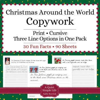 Christmas Around the World - Cursive - Copywork -  Handwriting