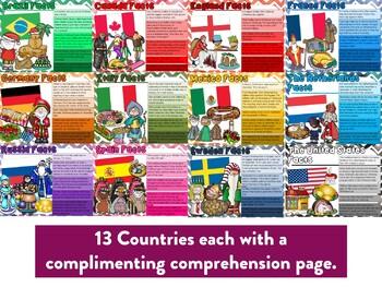 Christmas Around the World Factballs and Comprehension Sheets