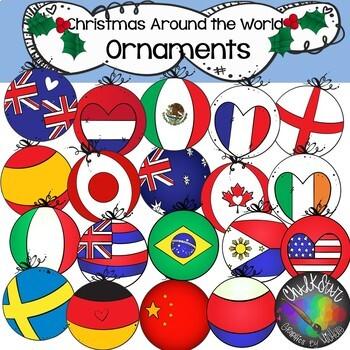 Christmas Around the World- Flag Ornaments Clip Art