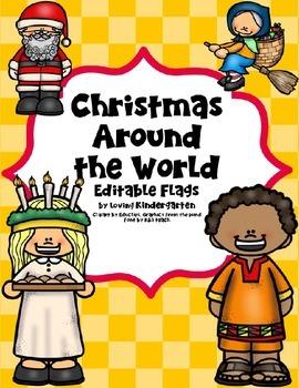 Christmas Around the World Flags - Editable - FREE