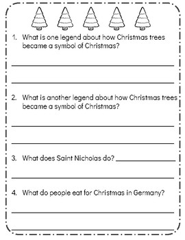 Christmas Around the World: GERMANY! Reading Comprehension Passage & Questions!