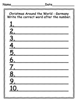 Christmas Around the World Germany Write the Room