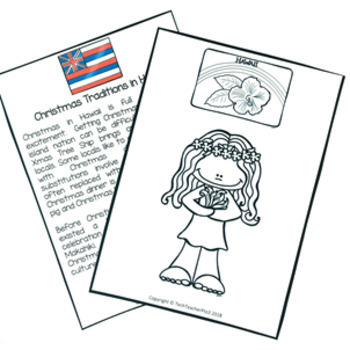 Christmas Around the World HAWAII Maps Flags Information Cards and Recipe