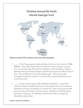 Christmas Around the World - Internet Scavenger Hunt by MJcreations