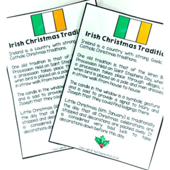 Christmas Around the World IRELAND Maps Flags Information Cards and Recipe