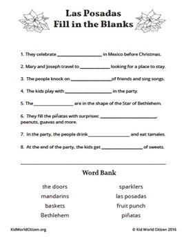Christmas Around the World ~ Las Posadas English Activities & Bilingual Minibook