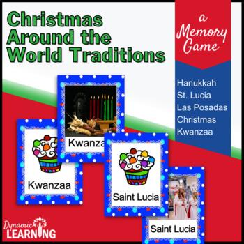 Christmas Around the World Vocabulary Memory Game with Real Photos