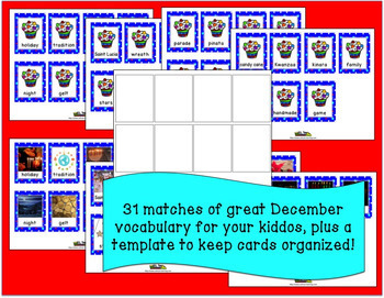Christmas Around the World Vocabulary Memory Game with Real Photos