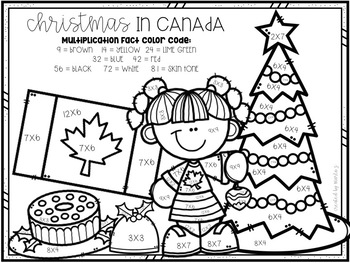 Christmas Around the World Mixed Multiplication Color-By-Number