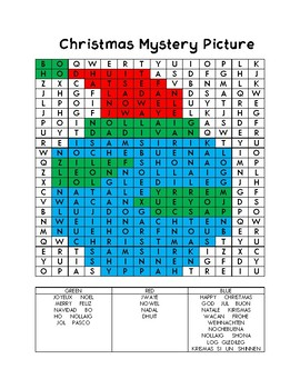 Christmas Around the World Mystery Picture Word Search