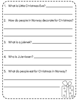Christmas Around the World: NORWAY! Reading Comprehension Passage & Questions!