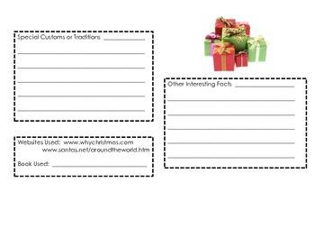 Christmas Around the World Notetaking Sheet