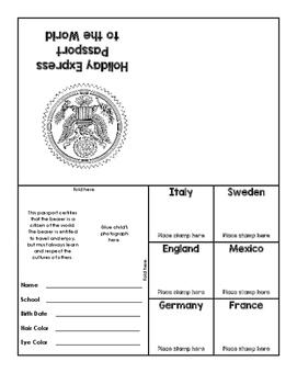 Christmas Around the World Passport Application and Passport