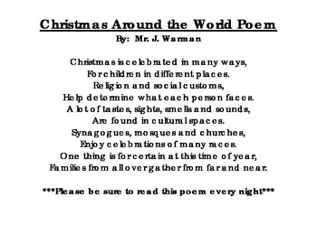 Christmas Around the World Poem