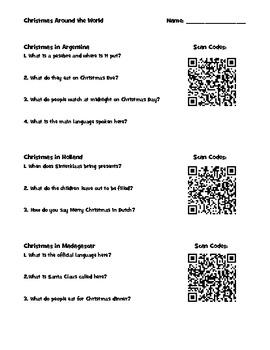 Christmas Around the World - QR Code Activity