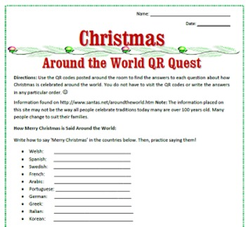 Christmas Around the World QR Code Reading & Activities