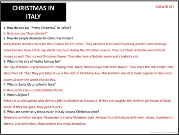 Christmas Around the World Reading Comprehension Passages (Social Studies)