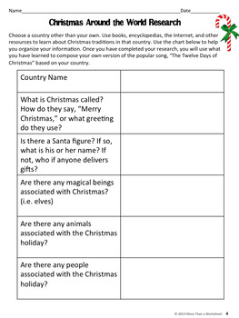Christmas Around the World: Research Project (12 Days of Christmas)