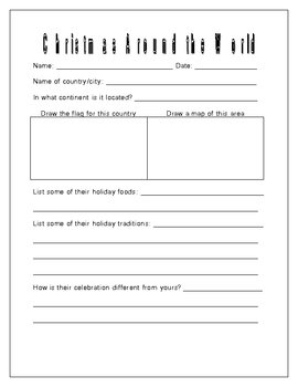 Christmas Around The World Worksheets.Christmas Around The World Research Project