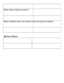 Christmas Around the World Research Template