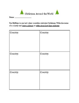 Christmas Around the World Research planning page