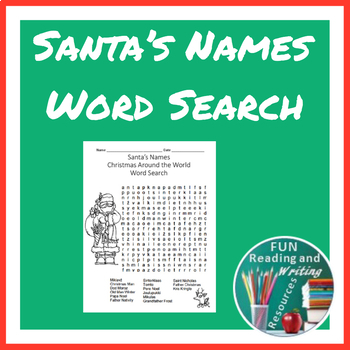 Christmas Around the World - Santa's Names Word Search Puzzle